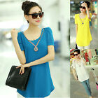 Chic Women New Slim Casual O-Neck Chiffon Short Sleeve Tops Blouse Tee T-Shirts
