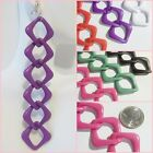CLIP or Pierced 6 in Long Chain Design Chunky BIG Fashion Earrings Choose Color