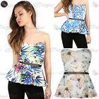 Womens Ladies Sleeveless Floral Printed Boobtube Gold Belted Flared Peplum Top