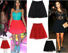 New Womens Ladies Floral Lace Skater Skirt Flare Min Evening Party tutu Skirt
