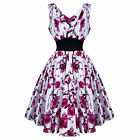 Hearts and Roses London Pink White Floral 50s Vintage Tea Party Dress