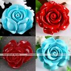1x Man-Made Coral Gemstone Carved Camellia Flower Charms Pendant Fit Jewelry DIY