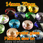 70 Glass round 14mm Crystal foiled FB Sew On faceted Rhinestones stone pk color