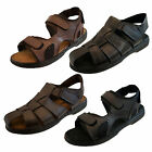 Mens Leather Closed Fisherman Open Toe Leather Velcro Summer Beach Sandals Size