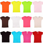 Girls Plain Gym & Dance Top Kids Cotton Short Sleeve T Shirt  Age 2-13 Years