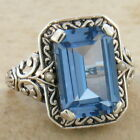 4 CT SIM AQUAMARINE PEARL ANTIQUE DESIGN .925 STERLING SILVER RING,       #477