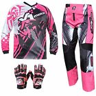 PINK YOUTH KIDS MX JERSEY PANTS GLOVES Dirt Bike Gear Off road Motocross Junior