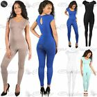 Women Ladies Celeb Cap Sleeve Jersey Keyhole All In One Piece Playsuit Jumpsuit