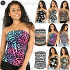 Womens Ladies Floral Printed Side Ruched Strapless Cropped Boobtube Top 8-22