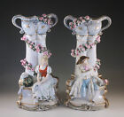 ANTIQUE MAJOLICA GERMANY PAIR OF  FIGURAL VASES, NAPOLEONIC ERA COUPLE, COLUMNS