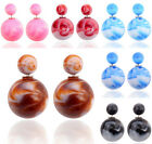 Elegant Jewelry Colorful Candy Double Side Earirngs Women Ear Studs Two Ball