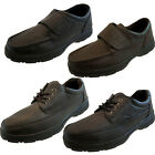 Mens Dark Brown Black Leather Velcro Lace Up Relaxed Wide Fit Classic Shoes