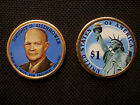 2015 Colorized Dwight D. Eisenhower, IKE Presidential Coin 2 Sided - D Mint