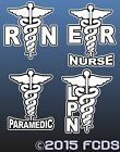 RN ER Paramedic LPN Registered Nurse Licensed Practical Nurse Smaller Decal