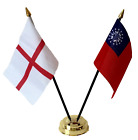 England & Myanmar (old) Double Friendship Table Flags & Badge Set