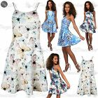 Womens Ladies Strappy Sleeveless Cami Flared Hi Neck Top Swing Mini Skater Dress