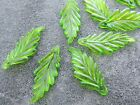 11x25mm 100/200pcs CLEAR FOREST GREEN ACRYLIC LUCITE PLASTIC LEAFS BEADS CM05827