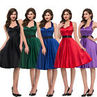 Black Red Blue Satin Vintage 40 50s Rockabilly Pinup Party Prom Swing Prom Dress