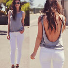 Fashion Women Summer Backless Vest Blouse Casual Sleeveless Tank Top T-Shirt