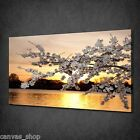 GOLD SUNSET CHERRY BLOSSOM TREE WALL ART CANVAS PRINT PICTURE READY TO HANG