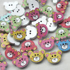 New 10/50/100/500pcs Wood Buttons Baby Bear Head Sewing Craft 2 Holes T0794
