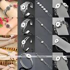 Silver Buckle Metal Bangle Bracelet Fit Click Snap On Button Jewelry Finding DIY