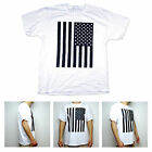 SA106 Mens Black & White American Flag Patriotic USA Graphic White T Shirt
