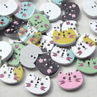 New 10/50/100pcs Wood Buttons Pretty Cats Sewing Craft 2 Holes T0790