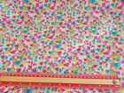 Multi coloured hearts on white / sold by the metre 112cm  wide Polycotton