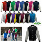 Kyпить Just Hoods Varsity Jacket College Baseball Sweatjacke Damen und Herren JH043 на еВаy.соm