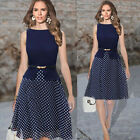 Womens Navy Blue Business Match Belted Polka Dot Party Work Chiffon Tea Dress
