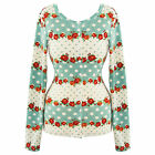 Voodoo Vixen Cream Blue Floral Dot Vintage 50s Cardigan Top