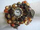 Austrian AB Crystal Floral Brown Blue White Bead Bronze Bracelet Dress Watch