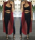 Womens Sexy Sleeveless Split Loose Long Maxi Cardigan Party Evening Tops Blouse