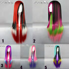 75 CM Long Straight Red / Pink / White Mixed Multi-Color Lolita Cosplay Wig