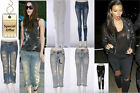 Ladies Women Celebrity Boyfriend Faded Distressed Ripped Denim Jeans Pants 6-14