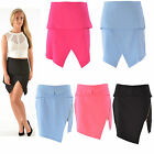 Women Ladies Wrap Over Split Front Zip Asymmetric Curve Hem Mini Evening Skirt