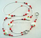 Red Flower White Hearts Beaded Lanyard ID Badge Holder