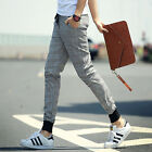Mens Slim Korean Stylish Plaid  Long Pants Trousers Straight Casual Sport Pant