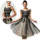 Black Lace Short Bridesmaid Prom Ball Gown Homecoming Cocktail Graduation Dress