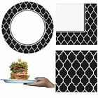 324 PCS! STURDY! HEAVY DUTY 108 PLATES & 216 NAPKINS  ~  BLACK & WHITE