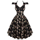 Womens Black Sugar Skull Rockabilly 50s Vintage Pinup Flared Party Prom Dress