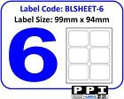 Plain White Blank Address Labels, 6 Per Page / A4 Sheet, 6 Up 6TV : BLSHEET-6