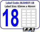 Plain White Blank Address Labels, 18 Per Page / A4 Sheet 18 Up 18TV : BLSHEET-18