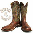 Boulet Men's Brown and Green Wide Square Toe Western Boot 4293