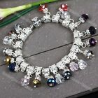 10pc Abacus Dangle Crystal Glass Spacer European Beads Big Hole Charms Bracelet