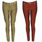 Ladies Women Shinny Metallic Disco Party Trousers Slim Skinny Fit Jeans Pants