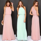 New Design Women SUMMER Ruched Long Chiffon Boho Bridesmaid Evening Party Dress