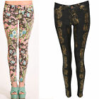 Women Ladies Floral Animal Print Skinny Slim Fit Summer Party Jeans Pants 6-14