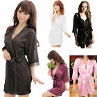 CHIC Hot Sexy Silk, Satin Lace Dressing Gown Bath Robe Hot Fashion Nightwear